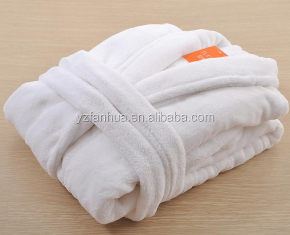 100 polyester unisex adults hotel coral fleece bath robe