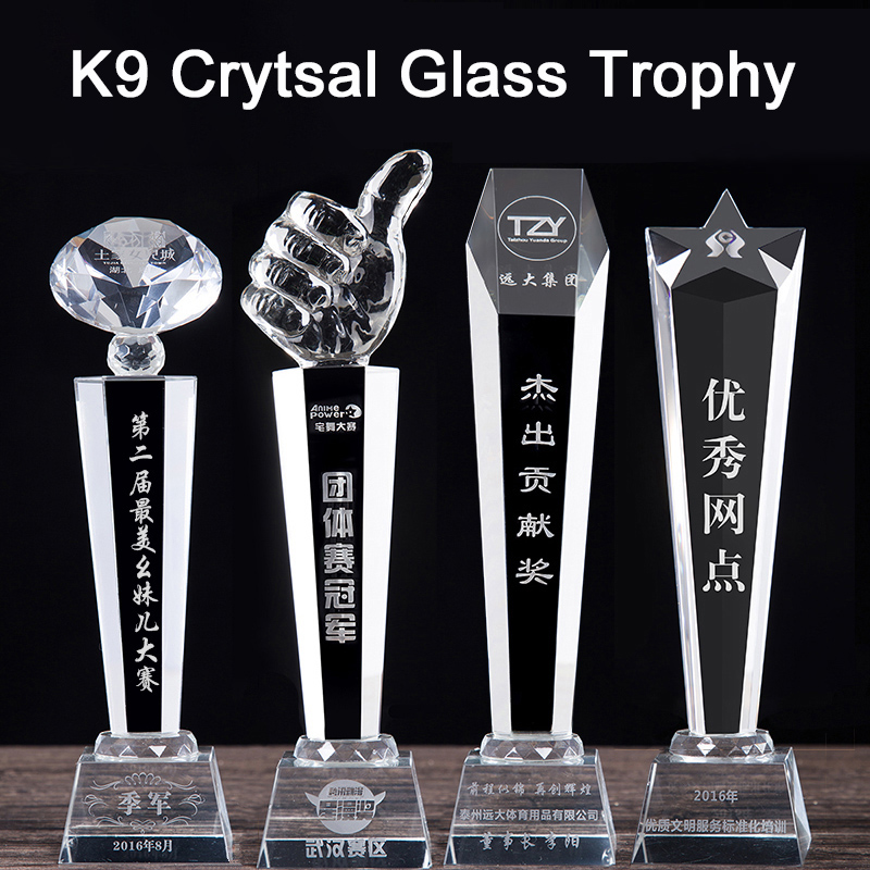 Wholesale cheap Blank clean K9 crystal Hands shape Transparent Thumbs shape glass award medals Trophies