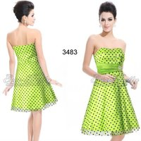 03483GR Strapless Polka Dots Printed Bow Diamante Green Cocktail Dress