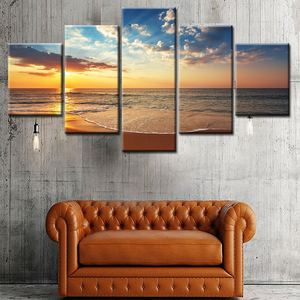 Wholesale HD Landscape 5 Panel Wall Art Canvas Painting Printed Unframed Pictures Home Decor Large Poster For Living Room