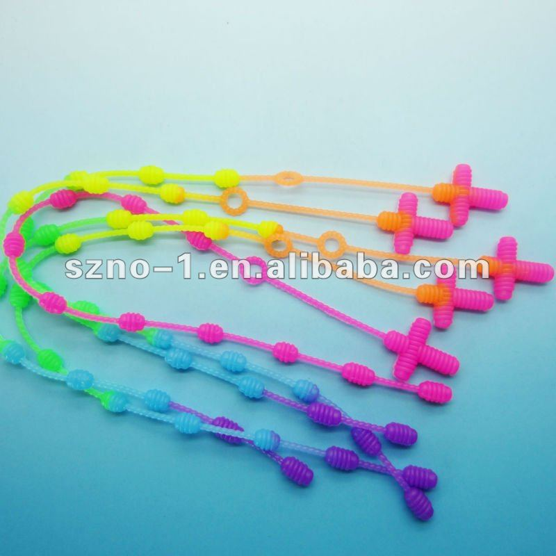 Cute Rainbow Color Rosary elastic silicon band