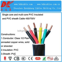 NYM copper wire with pvc cover pvc insulated sheath power cable 6 core 2.5mm round electrical cable multi core circular cable