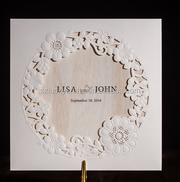 White Square Customized Design Laser Cut Wedding Invitation Card, Wedding Pocket Envelope Cover card Favor birthday invitation