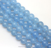 8mm light blue trendy raw natural round Chalcedony semi-precious stone string beads