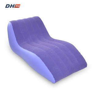 S shaped single inflatable flocking sofa chair