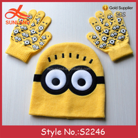 New minion kids knitted mittens cartoon characters yellow beanie hats scarf gloves set