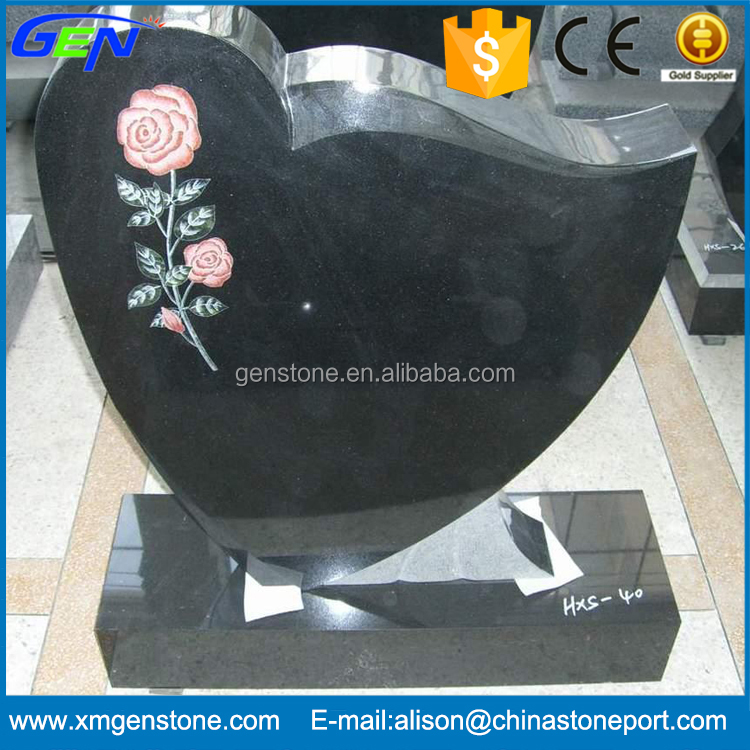 Cemetery Decorations Natural Black Granite Tombstone