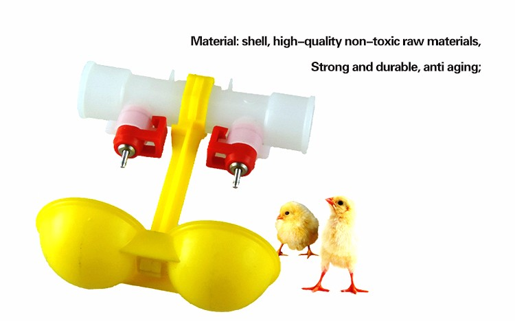 Double Outlet Poultry Waterer Chickens Drinking Hanging Cups Nipple Drinker