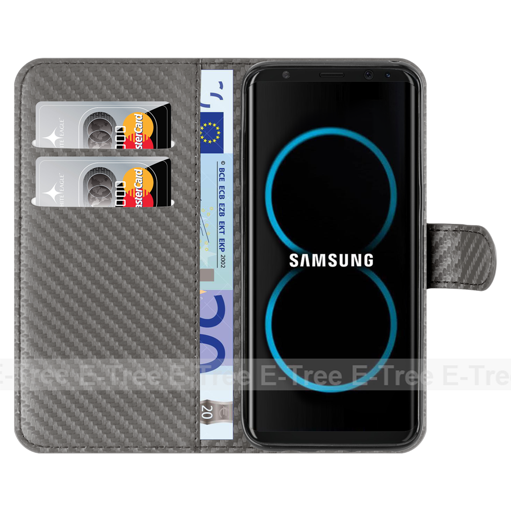 Hot carbon fiber pattern pu leather flip case for samsung galaxy s8 new style case , wallet cover for galaxy s8