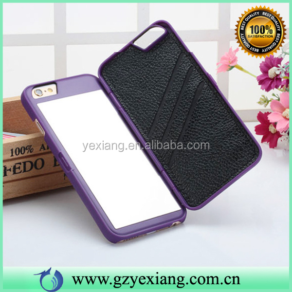 Shockproof Hard Cover Mirror Card Wallet Case For Iphone 6 With Stand