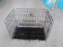 Black steel pet crate with divider