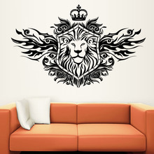 YA419 Fashionable Home Decoration Black Hollow Out PVC Waterproof Crown Lion Shield Wall Sticker For Living Room