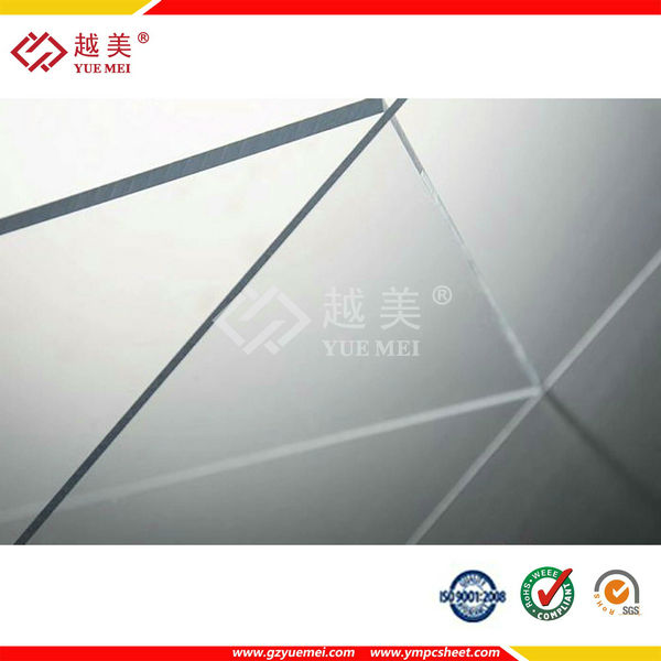 Yuemei clear polycarbonate solid sheet balcony roofing coverings rooftop material
