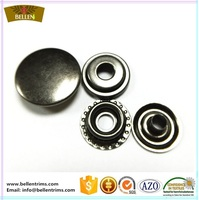 Four parts metal plated black nickle snap jacket metal snap button fasteners