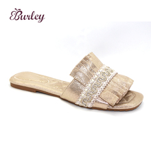 New latest design female shoes wholesale fashionable simple flat sliders indoor ladies slippers for women