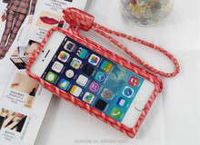 For iPhone 5C Cell Phone Leather Cover Weave Case