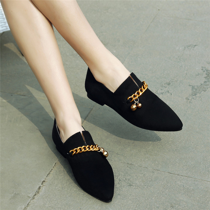 Women's Flats Heeled Pointed-Toe Suede Leather Loafers Shoes
