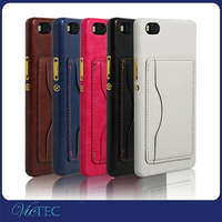 back card slot mobile phone leather case for huawei ascend P8