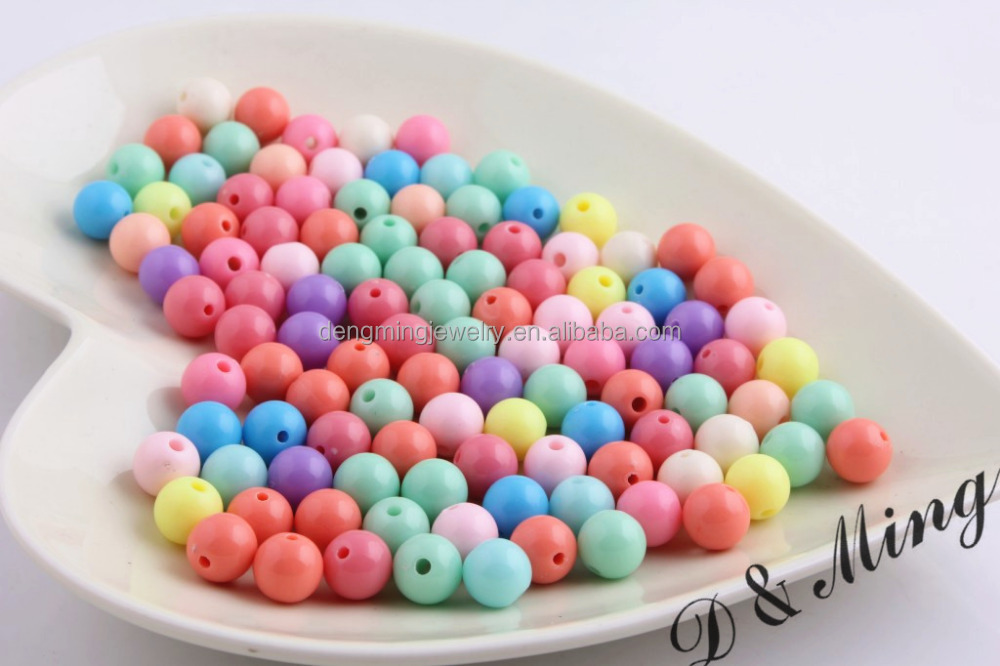 Mix colorful pastel mix easter acrylic solid beads bubblegum jewelry loose beads for necklace /party jewelry making in YIWU!!