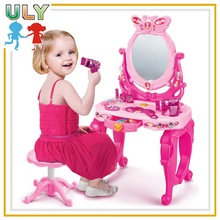 Pink toy dressing table for girls with music and chair
