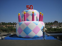 customized inflatable birthday cake for birthday party F1089