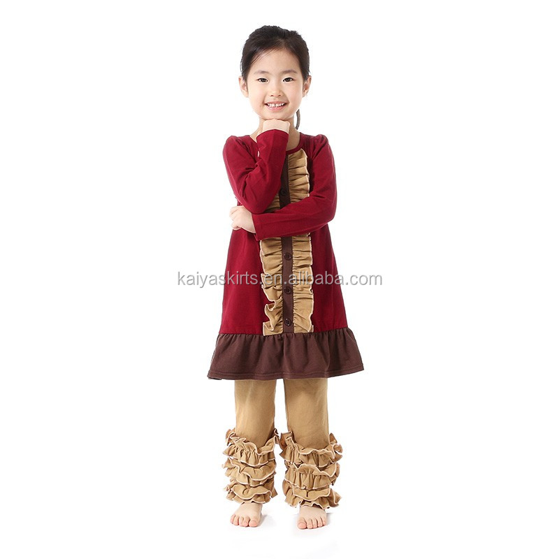 100% Cotton Material fall winter Printed Ruffled Pants Outfits