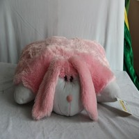 Rabbit shaped animal foldable soft plush bunny pillows for adults
