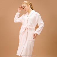 pink shawl collar terry contain 100% cotton evening dress warm and soft dress for women