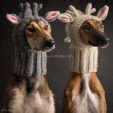Hand crochet knit reindeer antlers dog hats