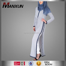 Beautiful blue & white muslim women long maxi dress long sleeve modern muslim kebaya abaya dress