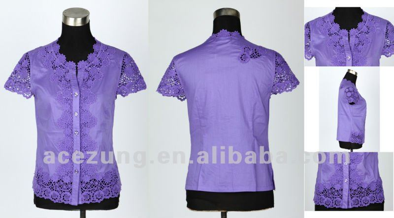 New fashion manufacturer exquisite embroidery ladies neck simple design lady blouse 0233-Y