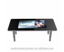 EKAA 42inch top glass Modern square metal touch screen coffee table