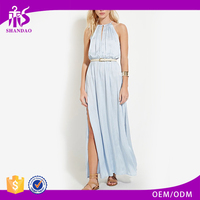 2016 Guangzhou Shandao High Side Slit Fashion Sleeveless Long Summer Gaun Dress Designs