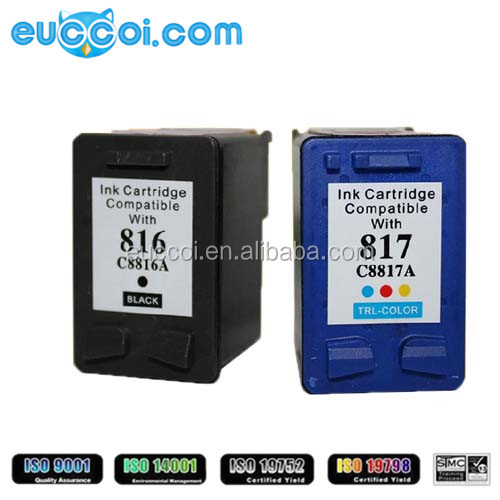 wholesale remanufactured inkjet cartridge 816 (C8816A) 817 (C8817A) ink cartridge replacement for HP DeskJet 3538/3558/3658/3668