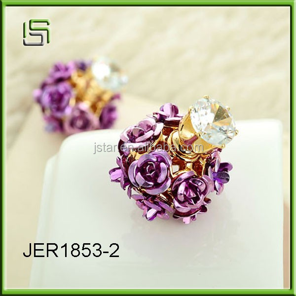 Popular women stud earrings and three - dimensional rose zircon double - sided ball earrings multi - color