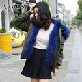 CX-G-P-19A Hot Sale Handmade Genuine Winter Real Fur Parka For Girls