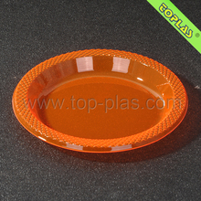"Colorful Clear In Orange 6"" Round Plastic PET Party Plate"