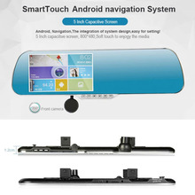 2 road recording DVR, GPS navigation ,5 inch Car DVR rearview mirror(XY-X5)