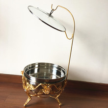 Good looking large capacity gold flower chafing dish with lid holder