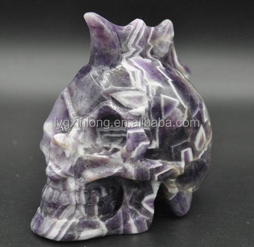 2017 Hot sale Amazing Natural Life Size amethyst Phantom/Ghost Crystal Skull Double Heads For Sale