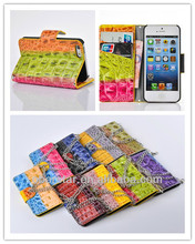 Stylish Color Crocodile Handbag Leather For Apple iPhone 5C Wallet Holster Flip Cover Case