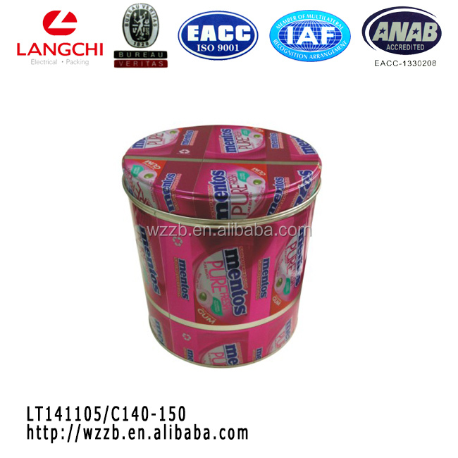 hot sale cylindrical Mentos metal tin box with lid