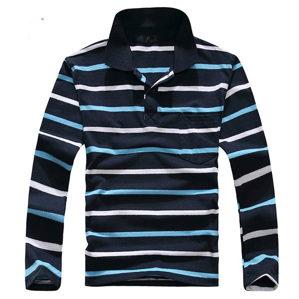 2016 Men's promotional striped long sleeve two color organic t shirt polo