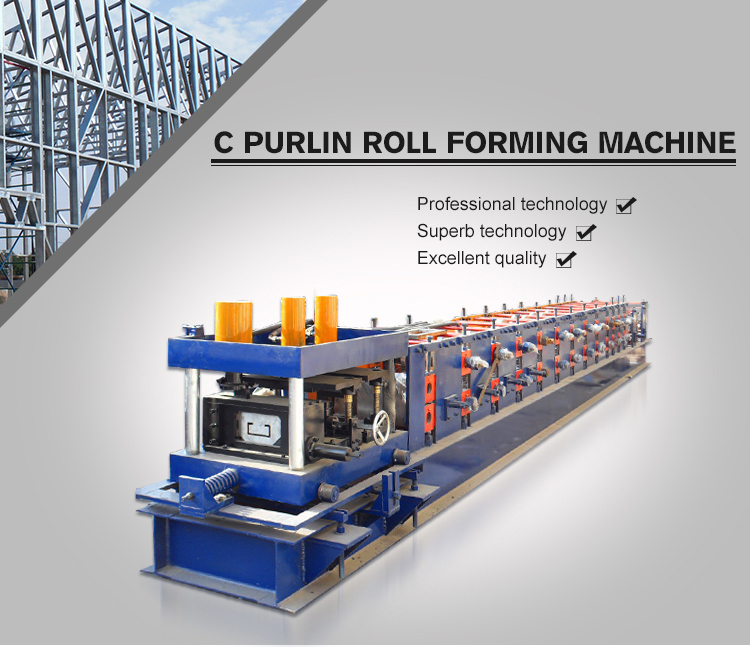 Plc Control System Certificated Supplier C Purlin Metal Roll Forming Machine