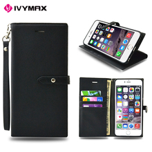 Guangzhou manufacturer slim dual color leather flip cover wallet case for apple iphone 6 4.7 inc with credit card slot