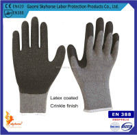 10g T/C Shell Latex Crinkle Safety Glove,labor glove,man gloves