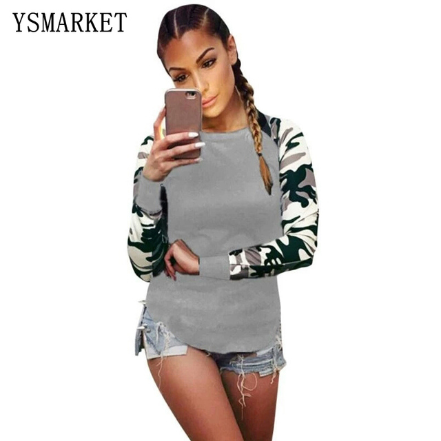 T Shirt Female Women Camouflage Army Tops Long Sleeve T-Shirts For Girls Spring Casual Print TShirt Camisetas Feminina