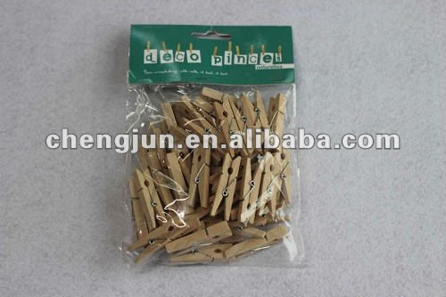 Hot selling small wooden clothes pegs /50pcs H-025