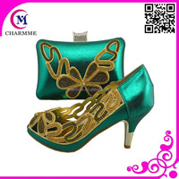 Elegant newest fashion wedding/party shoes matching bags CSB-438 teal green color available italian designs