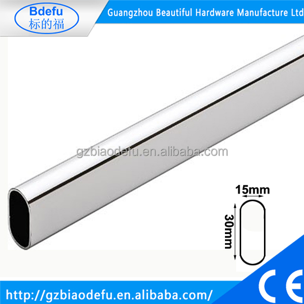 Metal Tube Hanging Rail , Steel Oval Tube with Chrome Finish